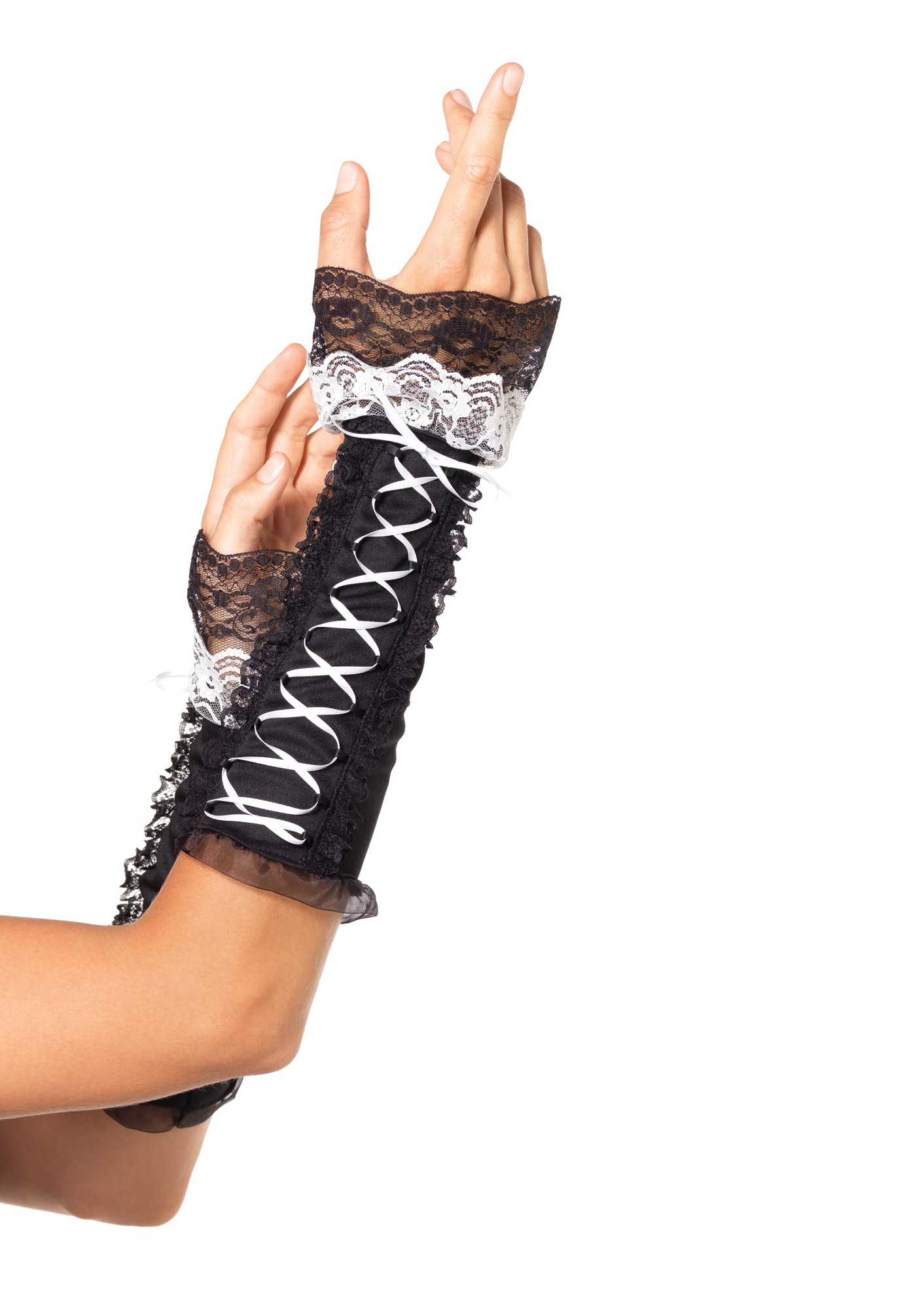 """Перчатки Lace Up Opaque Arm Warmer With Lace Ruffle Trim LA2128blackwhite"""
